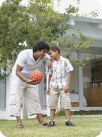 Improving Biological Age: Father playing with son