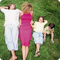 Parents reducing stress with kids